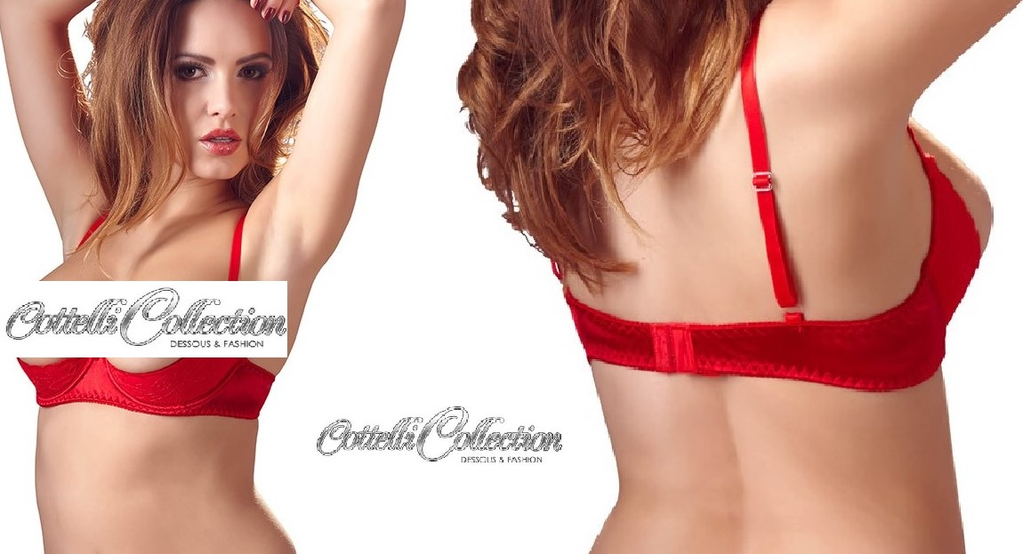 cd89b815cfd Cottelli Collection  Red Lightly Padded Half Cup Shelf Bra (2220121 ...